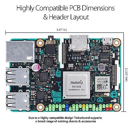 ASUS SBC Tinker Board RK3288 SoC 1 8GHz Quad Core CPU, 600MHz Mali-T764  GPU, 2GB