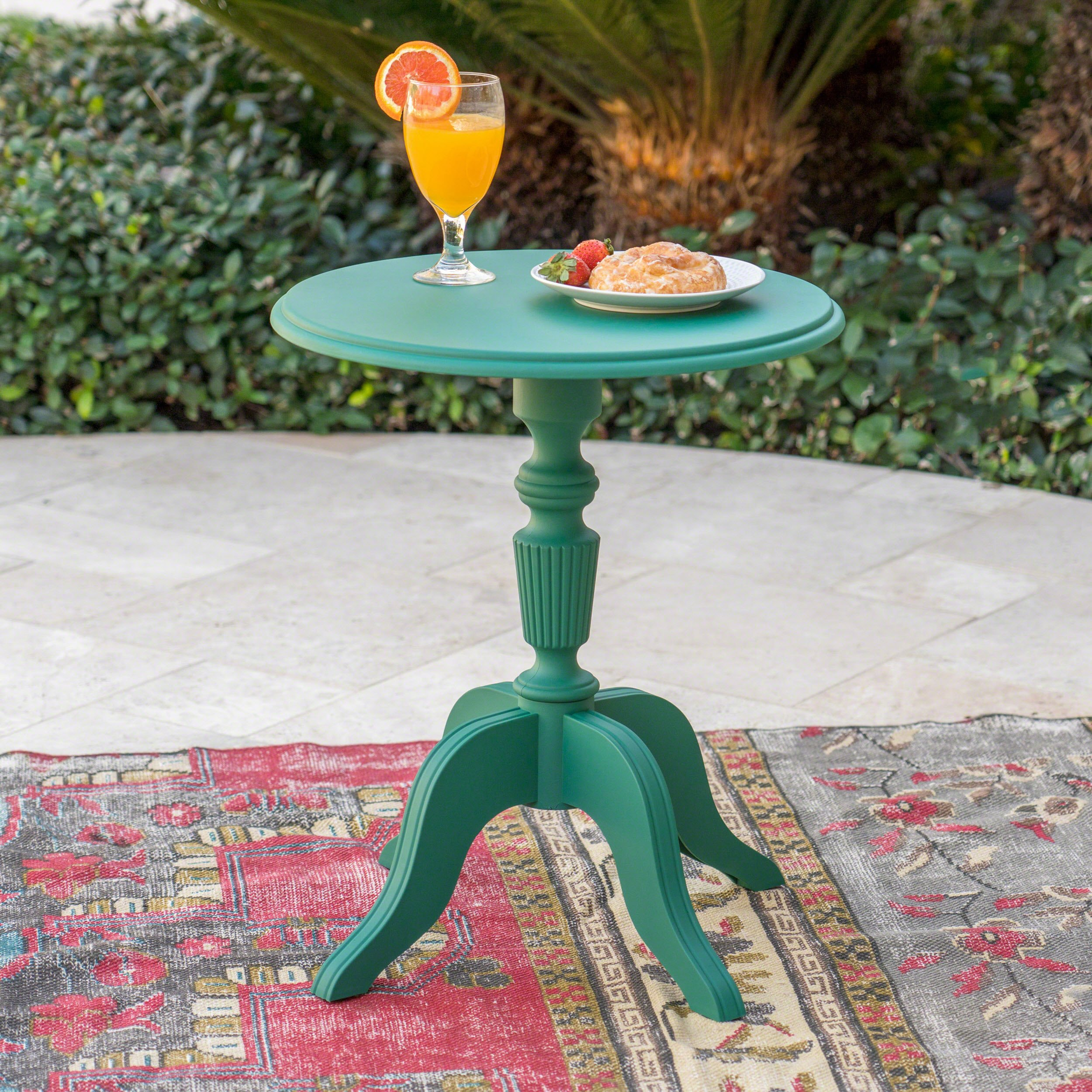 Eco-Cross   Outdoor Side Table   Recycled Nylon   Perfect For Patio   In Magnolia Green