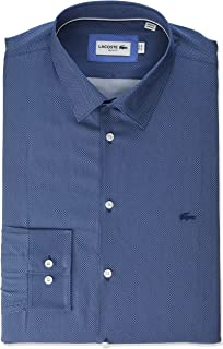 Lacoste Mens Long Sleeve Textured Semi Wide Collar Slim Fit Shirt