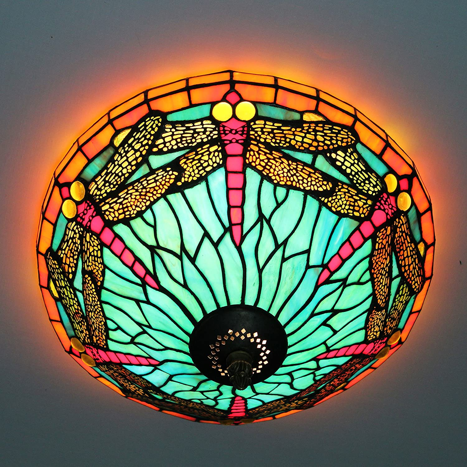 16-Inch European Retro Style Tiffany Dragonfly Stained Glass Flush Mount Ceiling Light Dining Room Light