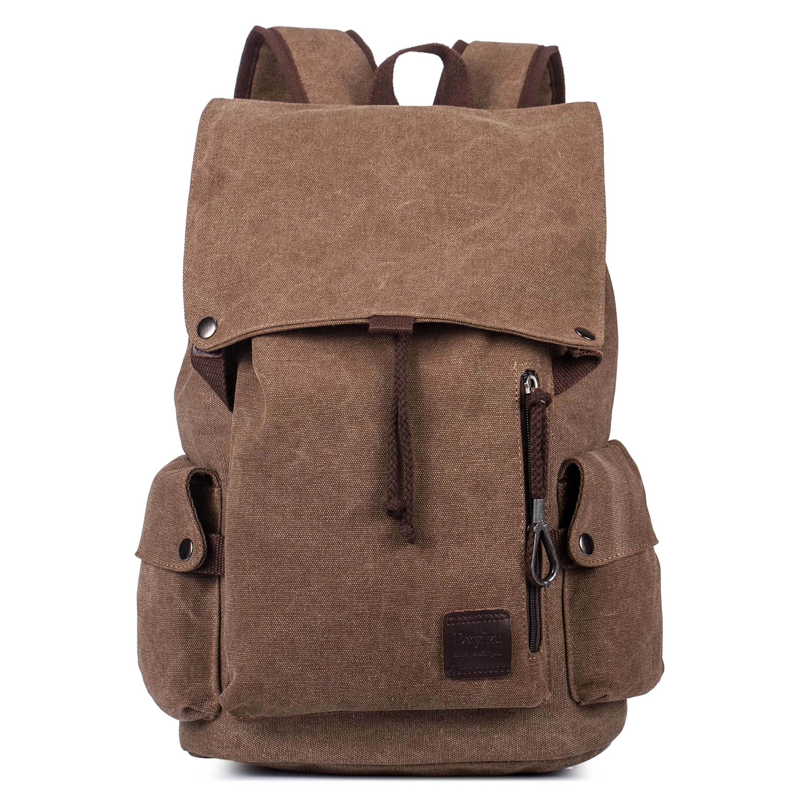 Canvas Rucksack School Backpack for 15.6 Inch Laptop Large Capacity Student Bookbag Casual Travel Bag for Men Women Brown