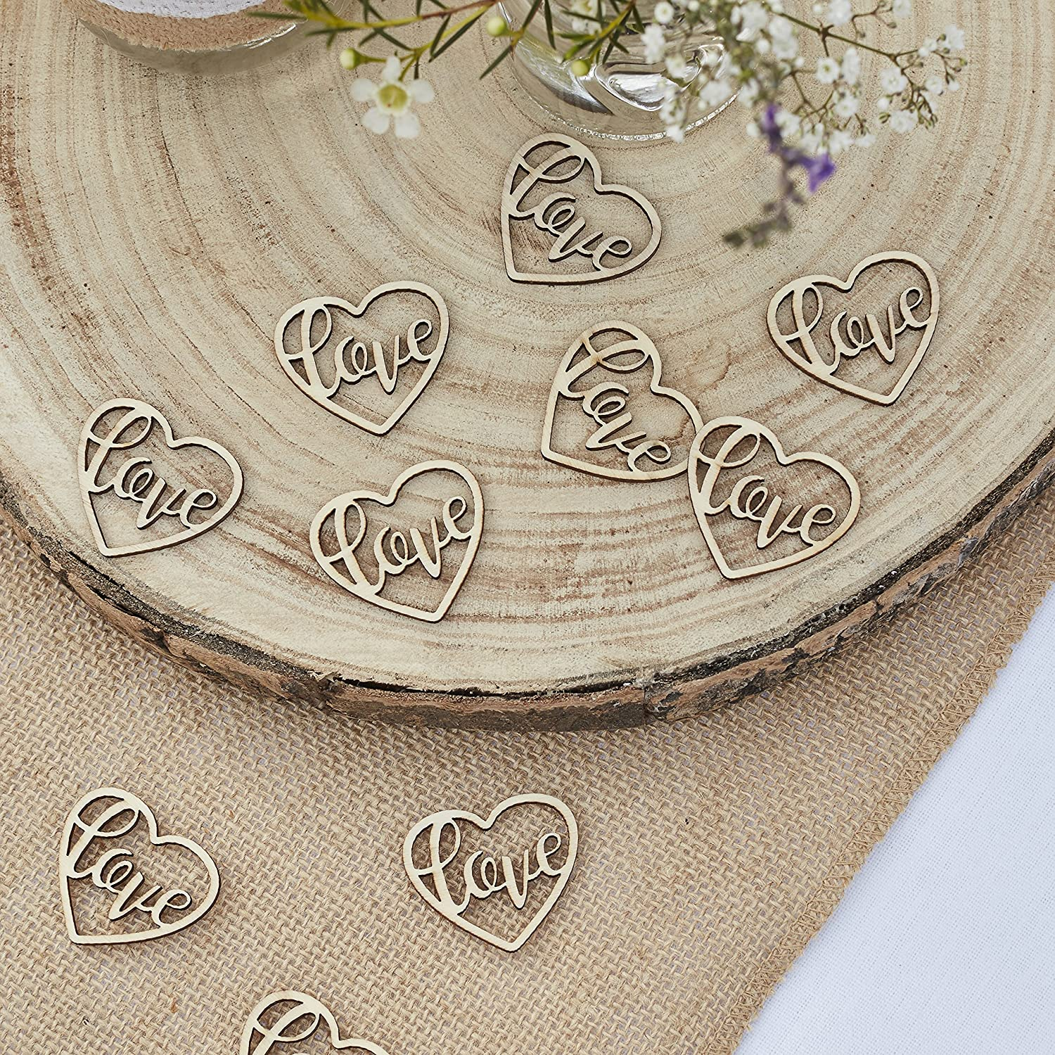 24 Pieces Ginger Ray Wooden Cut Out Love Heart Table Confetti Rustic Country