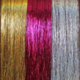 "40"" Hair Tinsel 300 Strands Three Amazing Colors : Sparkling Silver, Sparkling Gold, Shiny Hot Pink"