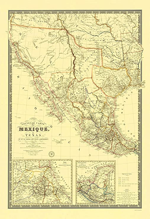Amazon Com New Map Of Mexico And Texas 1840 23 X 33 59 Matte