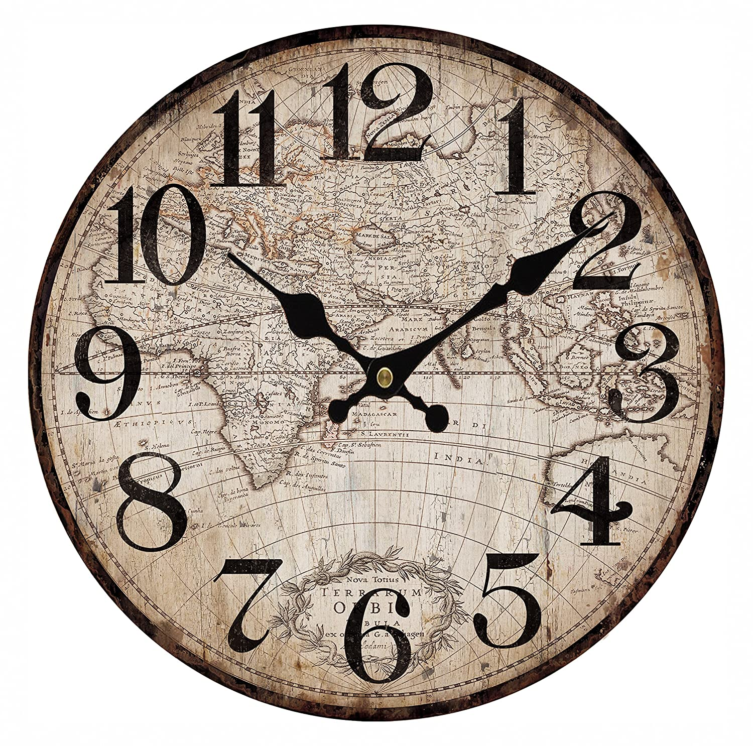 Upuptop 14 Faded Rustic Old Design Wall Decor Round Wood Clock with Vintage Antique Map Pattern