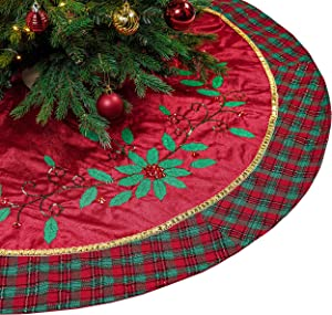 Valery Madelyn 48 inch Traditional Red Green Gold Christmas Tree Skirt Decorations with Holly Leaves and Tartan Trim, Themed with Christmas Tree Decor (Not Included)