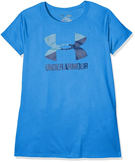 b7d6bd1f Amazon.com: Under Armour Girls Solid Big Logo Short Sleeve T-Shirt: Under  Armour: Clothing