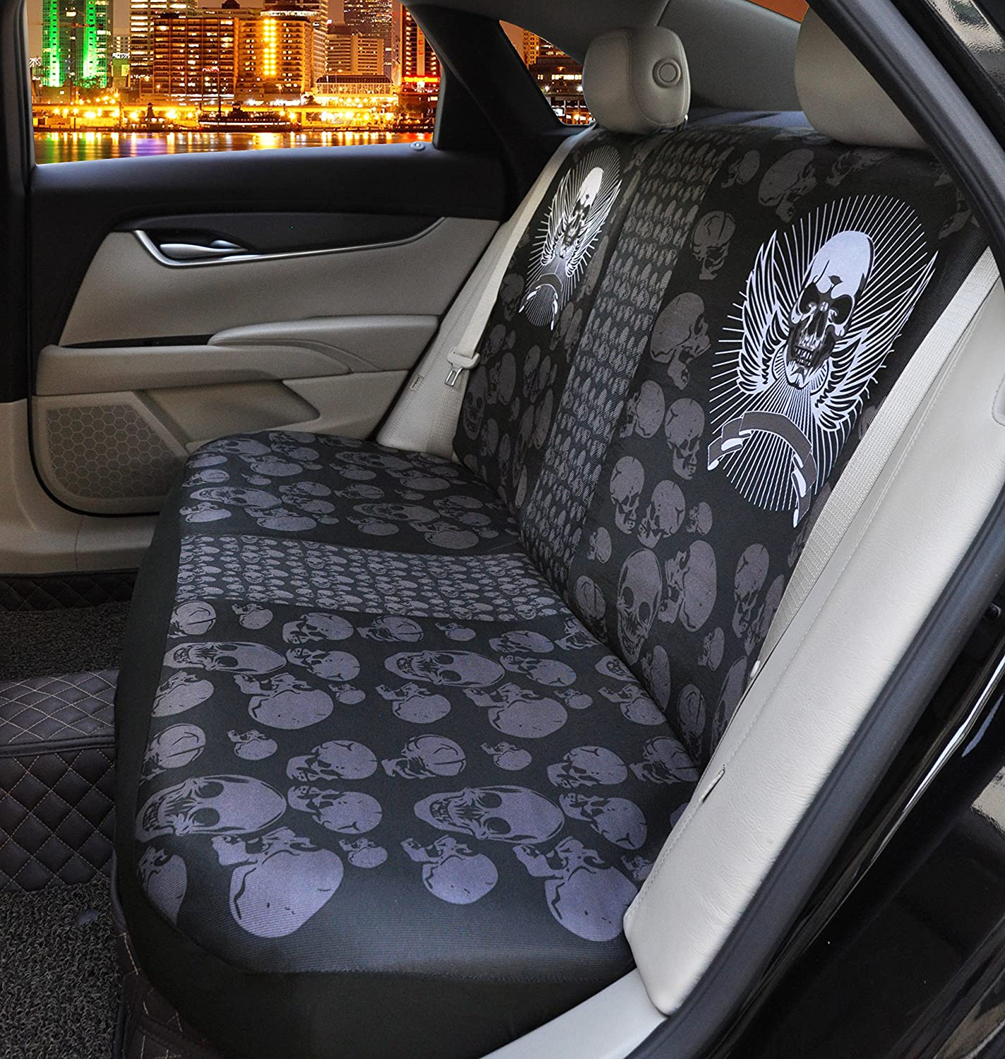Steering Wheel Cover Deeprinter Floral Skull Front Car Seat Protector Car Seat Belt Covers Durable Car Protector Interior for Dog Pets Car Center Cover