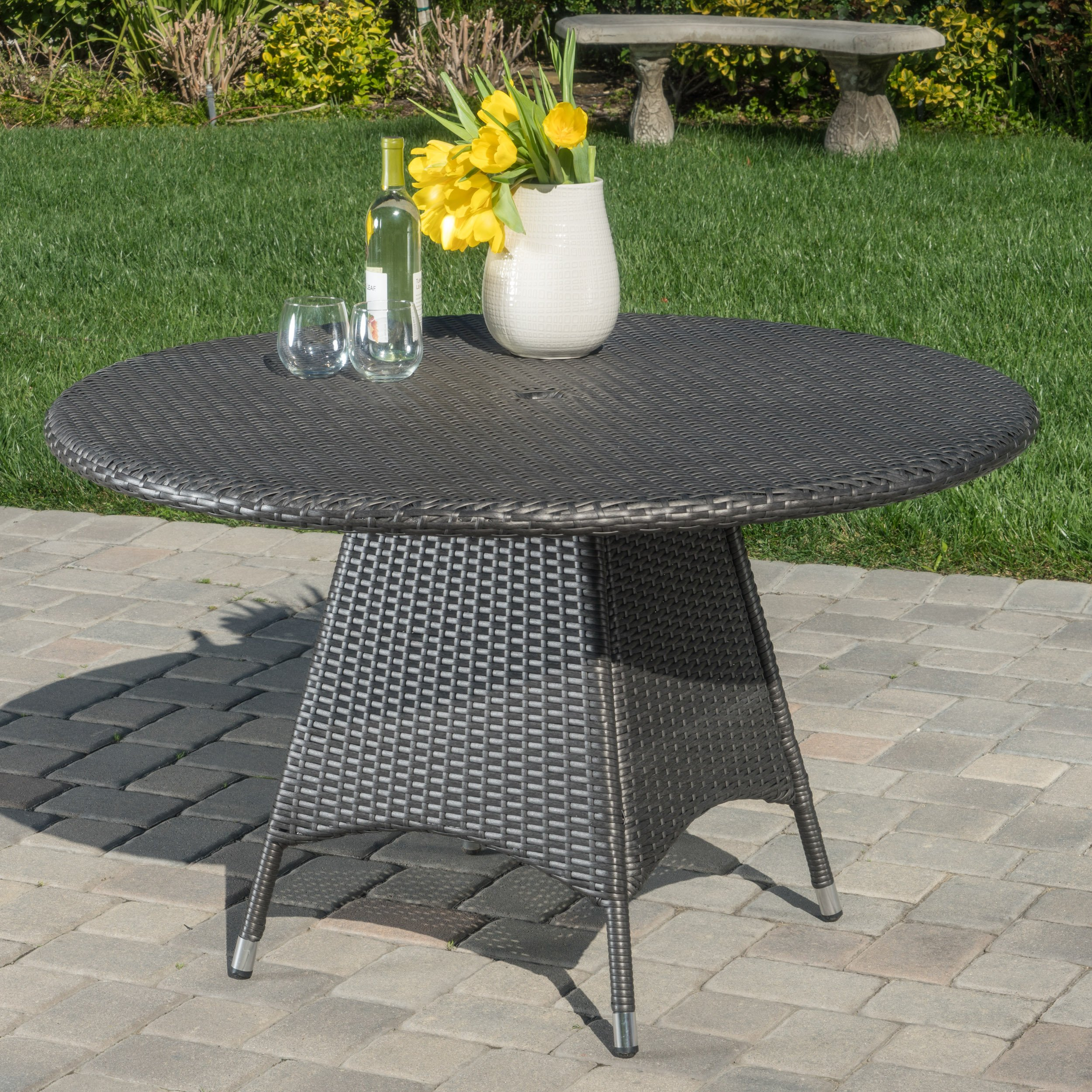 Christopher Knight Home Colonial Outdoor Grey Wicker Round Dining Table