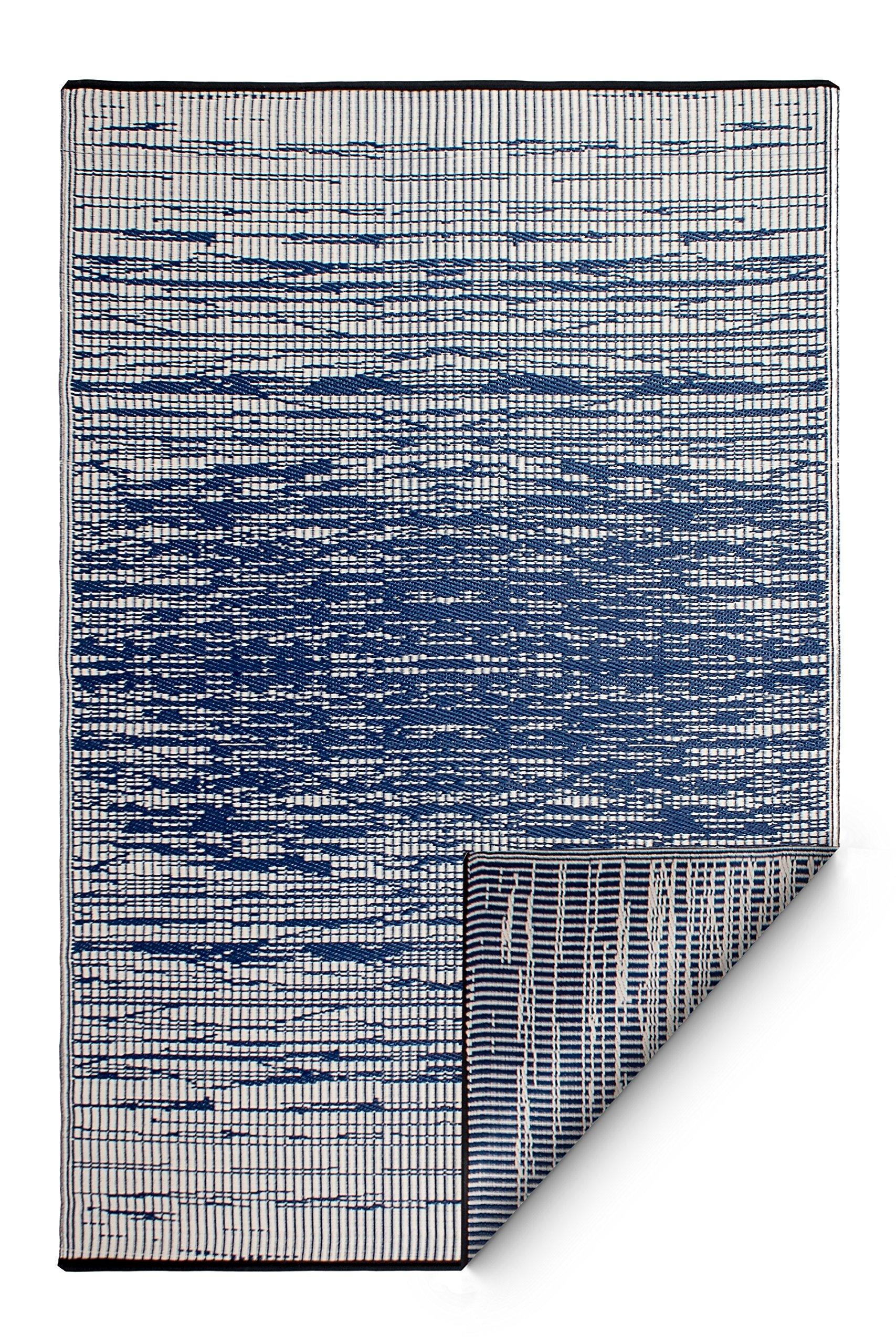 Fab Habitat Reversible, Indoor/Outdoor Weather Resistant Floor Mat/Rug - Brooklyn (8' x 10', Blue)