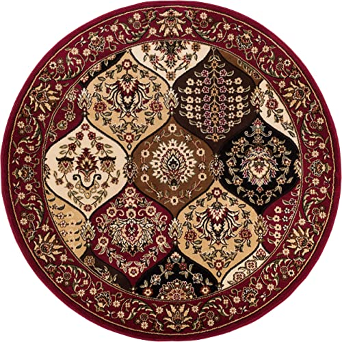 Well Woven Barclay Wentworth Panel Red Traditional Area Rug 5 3 Round