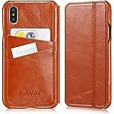 """Funda iPhone X case KAVAJ """"Dallas"""" marrón coñac piel auténtica con compartimento para tarjetas original i-PhoneX Apple slim fina carcasa cuero real"""