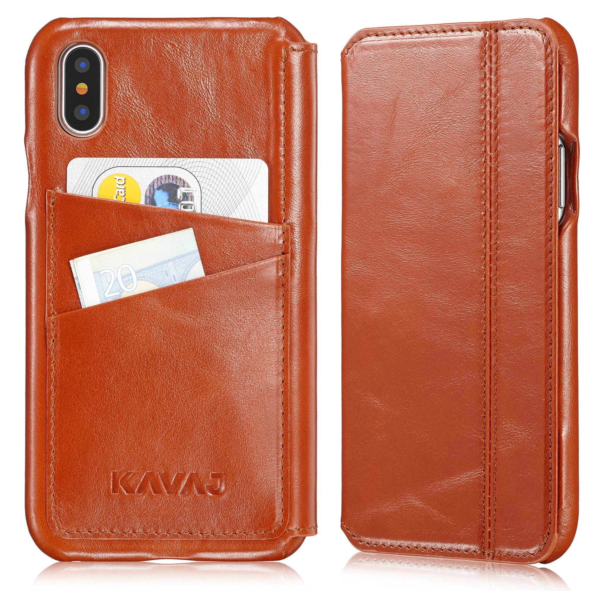 KAVAJ iPhone X Case Leather Dallas Cognac-Brown, Supports Wireless Charging (Qi), Slim-Fit Genuine Leather iPhone X Wallet Case Leather Flip Case Folio With Business Card Holder Cover Book