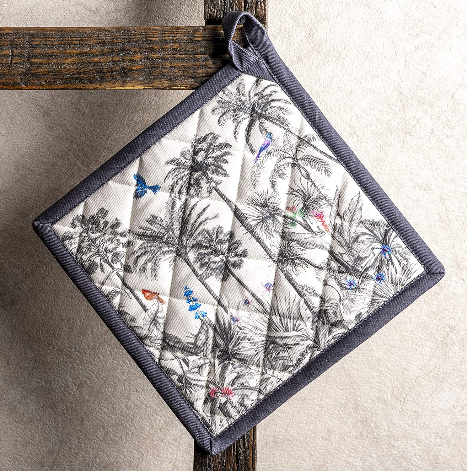Maison d Hermine ia 100/% Cotton Set of 2 Pot Holders 8 Inch by 8 Inch.
