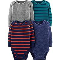 Simple Joys by Carter's Pack de 4 Body de Manga Larga térmica. Camiseta Interior para bebés niños