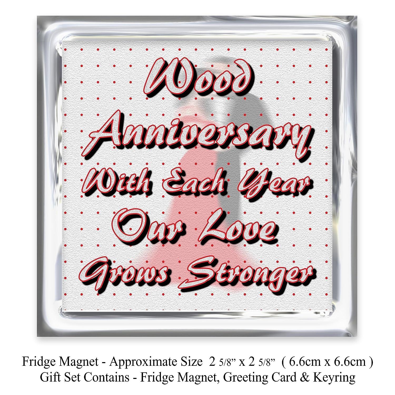 My Husband 5th Wedding Anniversary Gift Set - Card, Keyring & Fridge ...