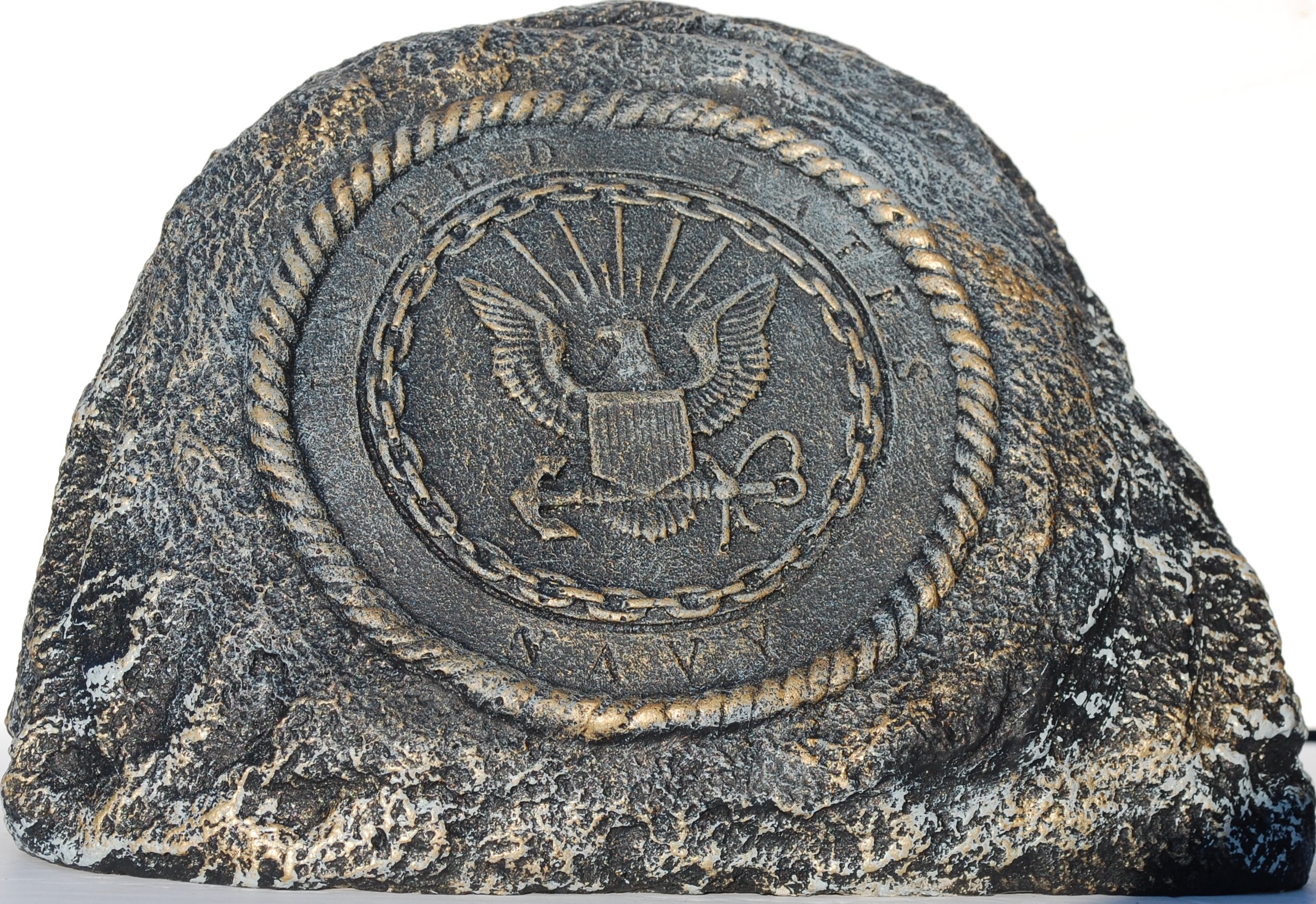 Navy Service Stone Memorial Handmade in USA made of cast stone concrete great for indoor or outdoor 3 color options available(Bronze Patina)