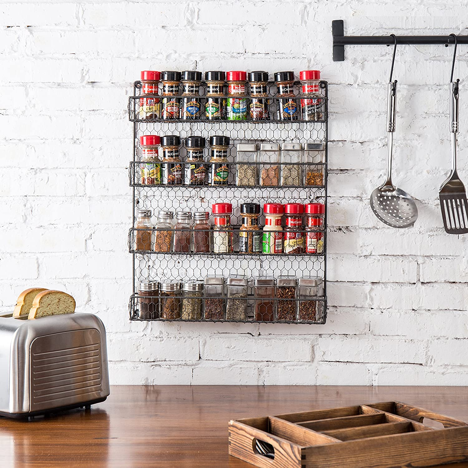 Amazon 4 Tier Gray Country Rustic Chicken Wire Pantry Cabinet