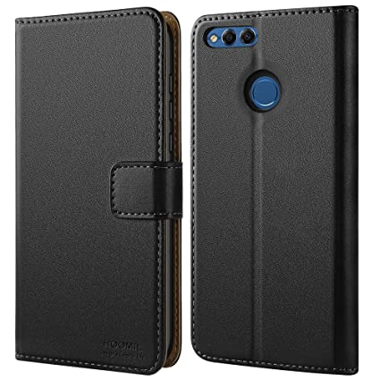 sports shoes 58e05 e4931 HOOMIL Case Compatible with Honor 7X, Premium Leather Flip Wallet Phone  Case for Huawei Honor 7X and Huawei Mate SE Cover (Black)