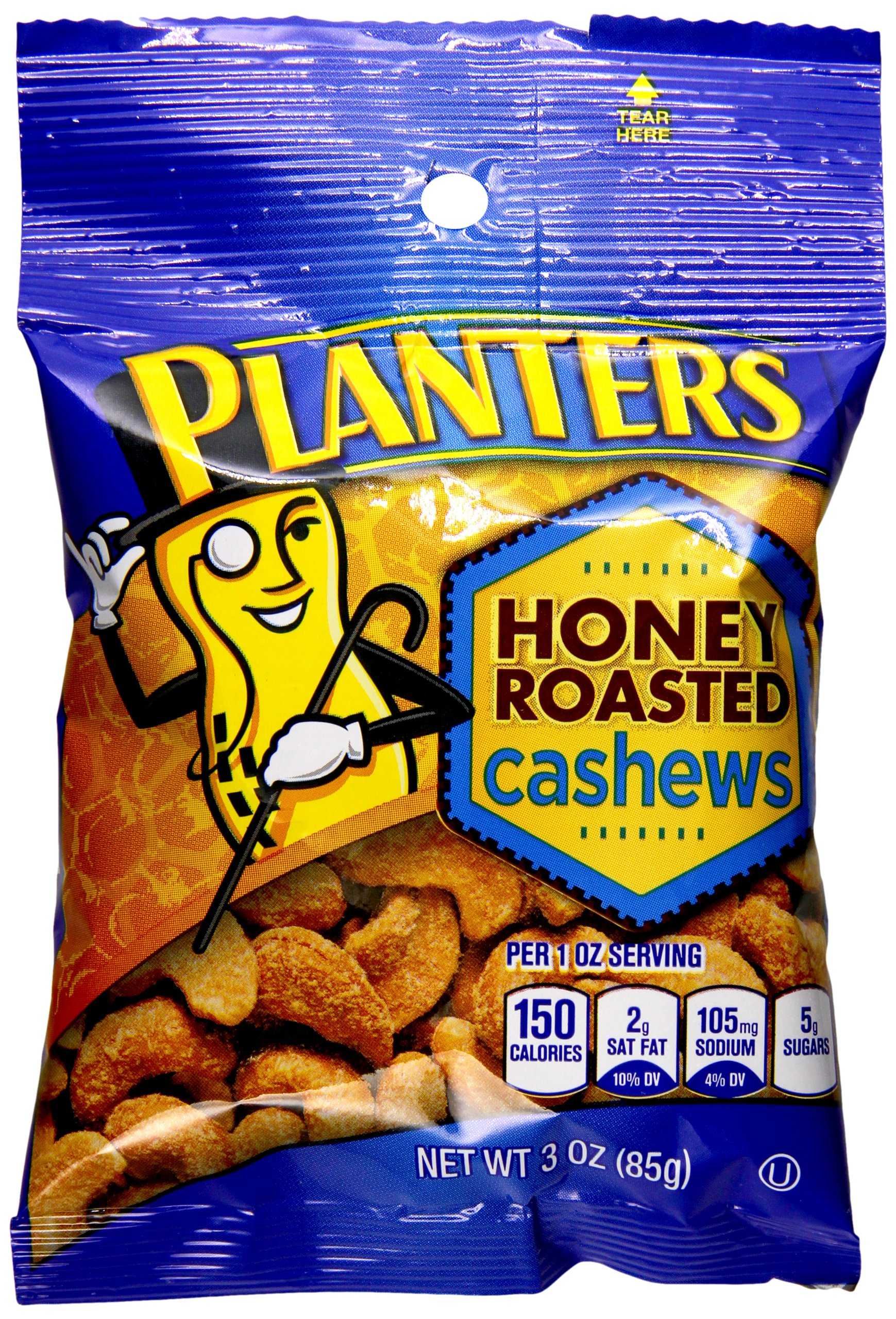 Planters Cashews, Honey Roasted & Salted, 3 Ounce Bag (Pack of 6)