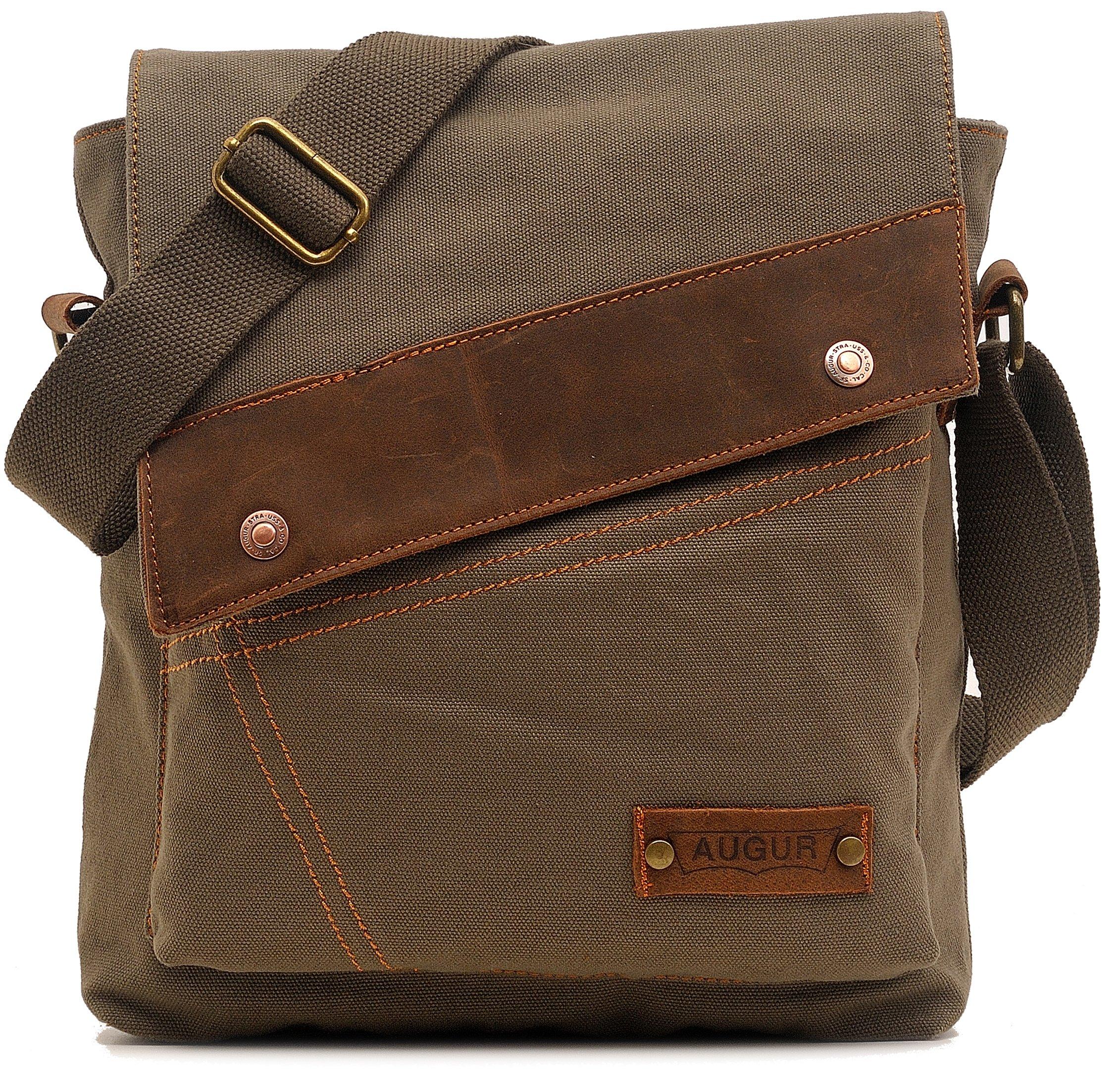 Magictodoor Small Vintage Canvas Messenger Bag Ipad Shoulder Bag Travel Portfolio Bag