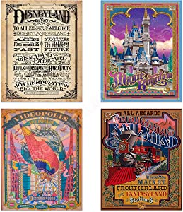 "Best of Disneyland-Vintage Sign Prints-(4) 8 x10's-""Magic Kingdom Castle-Discoveryland-Euro Railroad""-Retro Poster Print Replicas-Ready To Frame. Colorful Home-Children's Decor. For All Disney Lovers."
