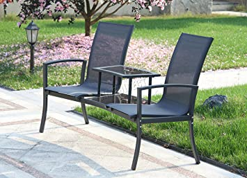FoxHunter Outdoor Garden Love Duo Seat Patio Bench Couples Companion Yard 2  Seater Chair Twin With