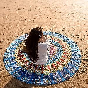 Folkulture Bondi Round Beach Blanket or Bohemian Mandala Tapestry, Circle Yoga Mat for Meditation, Hippie Tablecloth, Mandala Rug or Boho Home Decor - 72 Inches, Blue
