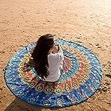 Folkulture Bondi Round Beach Blanket or Bohemian Mandala Tapestry, Circle Yoga Mat for Meditation, Hippie Tablecloth…