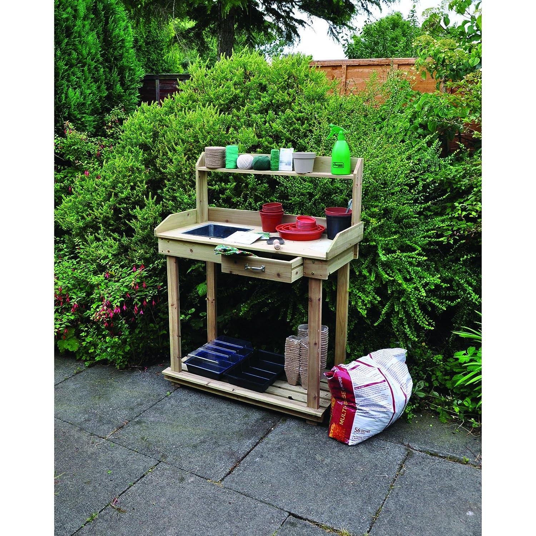 Potting Table Part - 32: Kingfisher PTABLE Potting Table - Natural Wood: Amazon.co.uk: Garden U0026  Outdoors