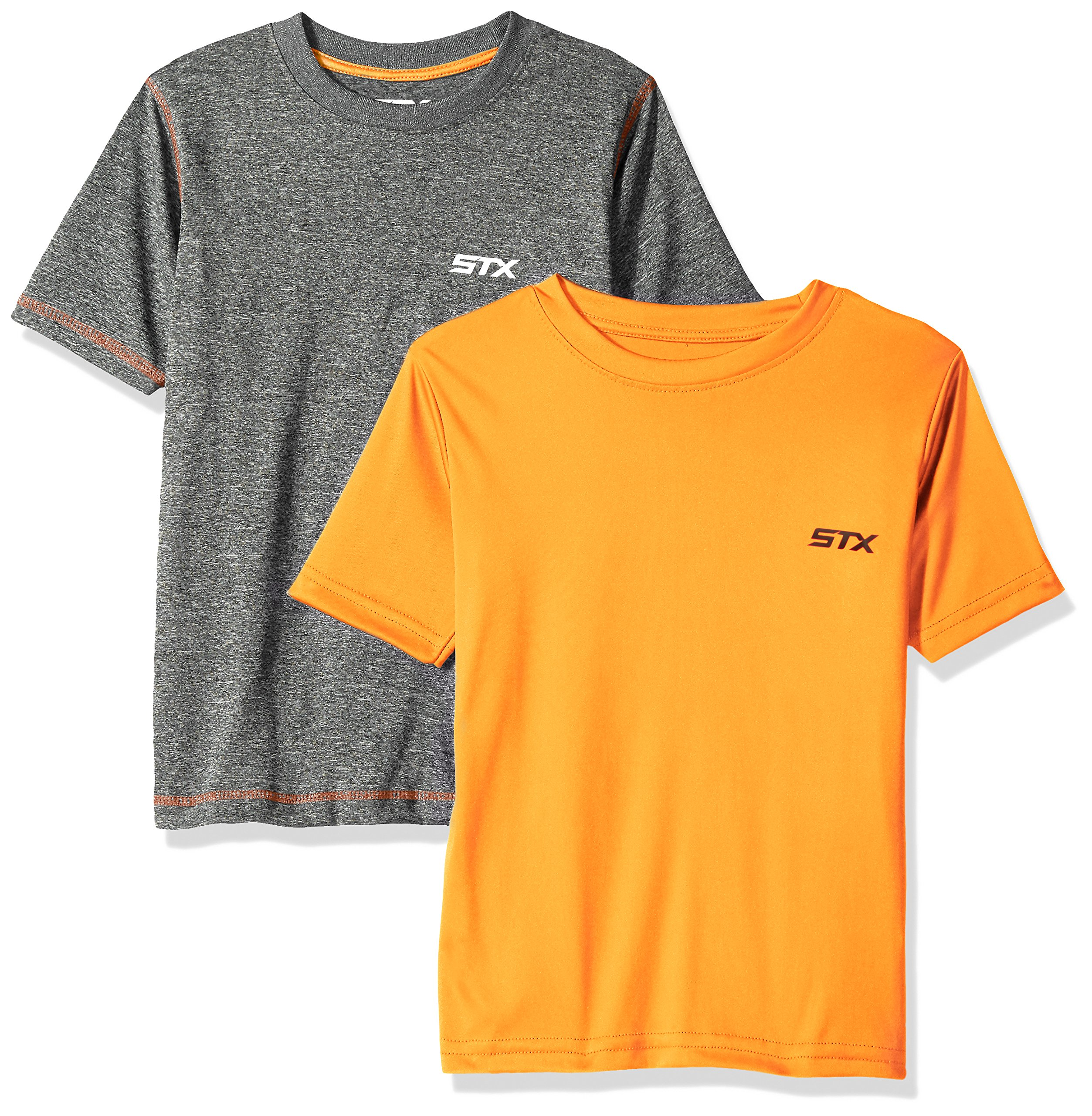 STX Big Boys Active T-Shirt and Packs, 2 Pack -Orange/Gray -TX61, 10/12
