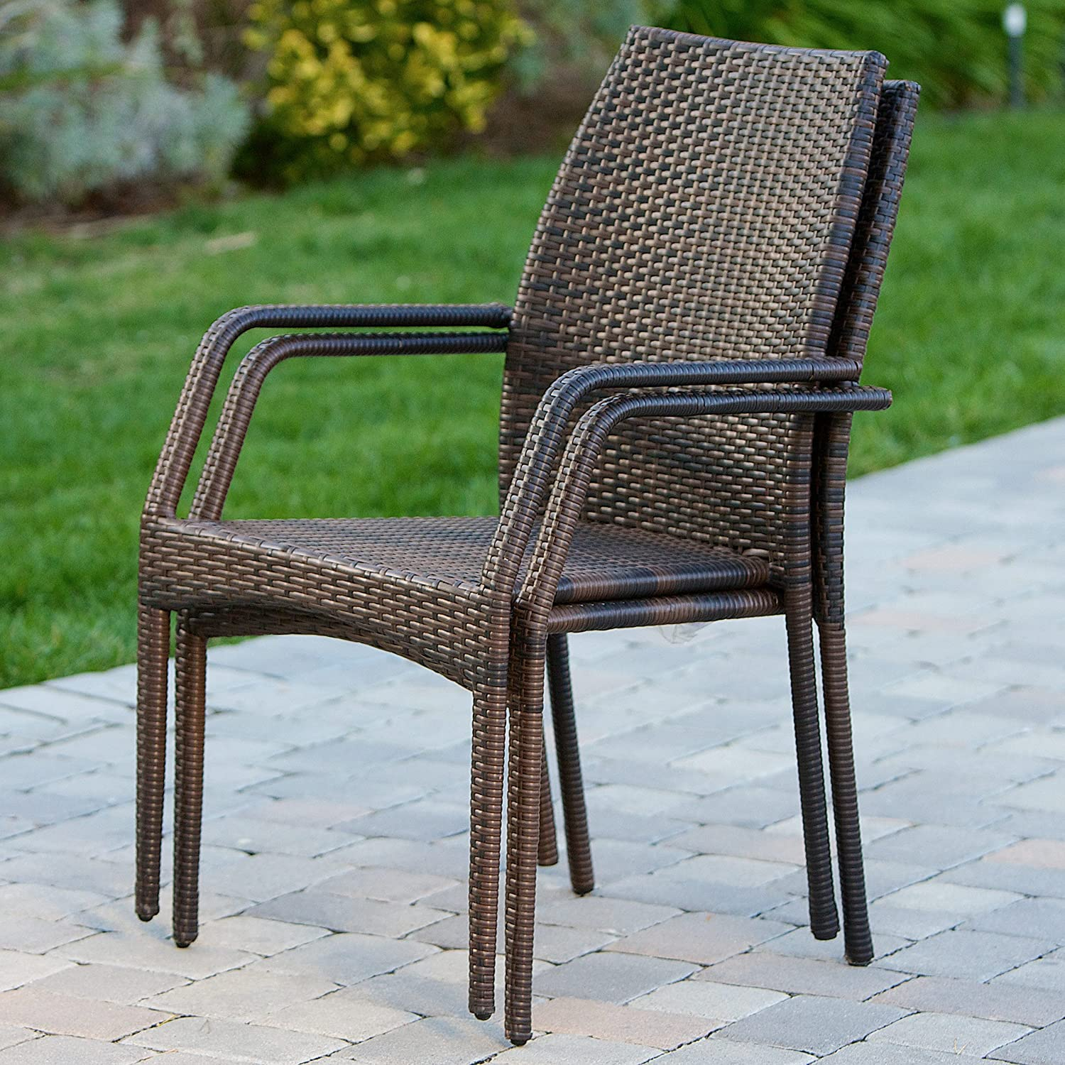 Christopher Knight Home Outdoor Wicker Stacking Chairs Set of 2 Perfect for Patio in Multibrown