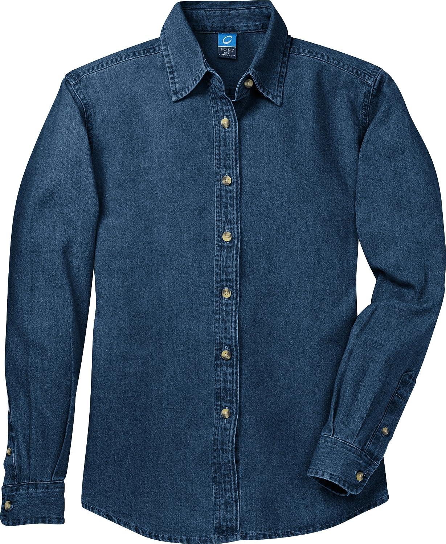 Port & Company Women's Long Sleeve Value Denim Shirt XL Ink Blue* LSP10