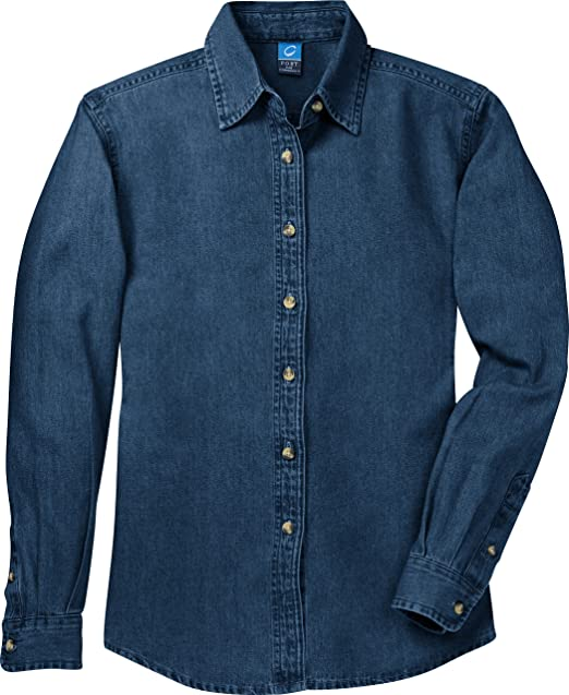 431dab0fdd1 Port   Company Women s Long Sleeve Value Denim Shirt Small Ink Blue   Amazon.ca  Clothing   Accessories
