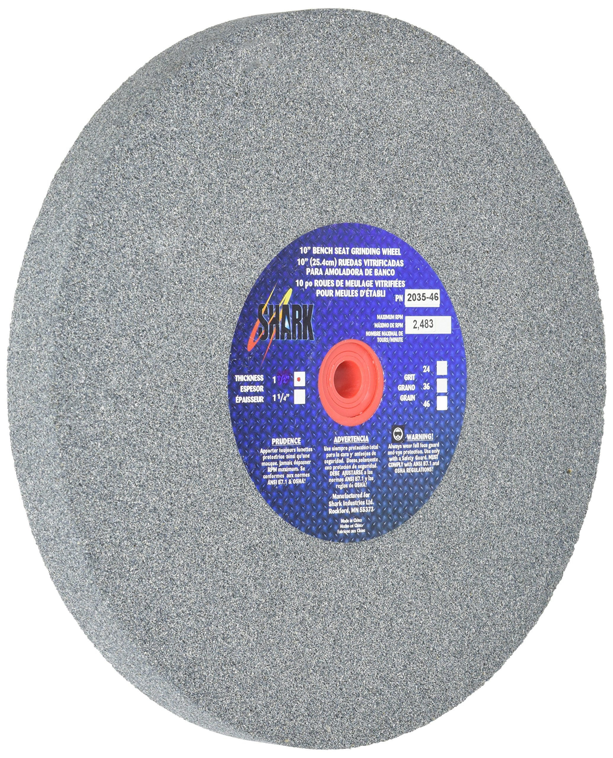 Shark 2035-46    10-Inch by 1 0.25-Inch by 1-Inch Bench Seat Grinding Wheel, Grit-46