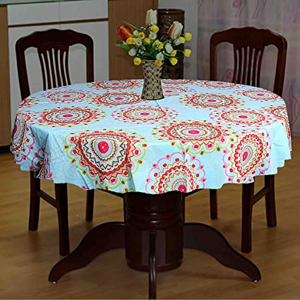 e241b3b6f Buy Miyanbazaz Textiles Round Tablecloth For Round Dining Table Cover 4  Seater Cotton Table Cover Multicolor Online at Low Prices in India -  Amazon.in