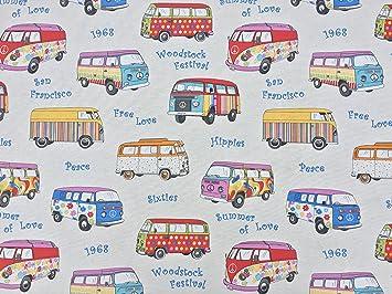 Retro VW Camper Van Cotton Designer Curtain Upholstery Fabric ...