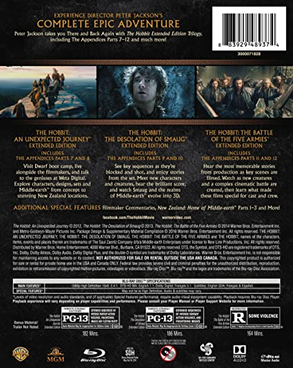 Hobbit: The Motion Picture Trilogy Extended Edition Blu-ray