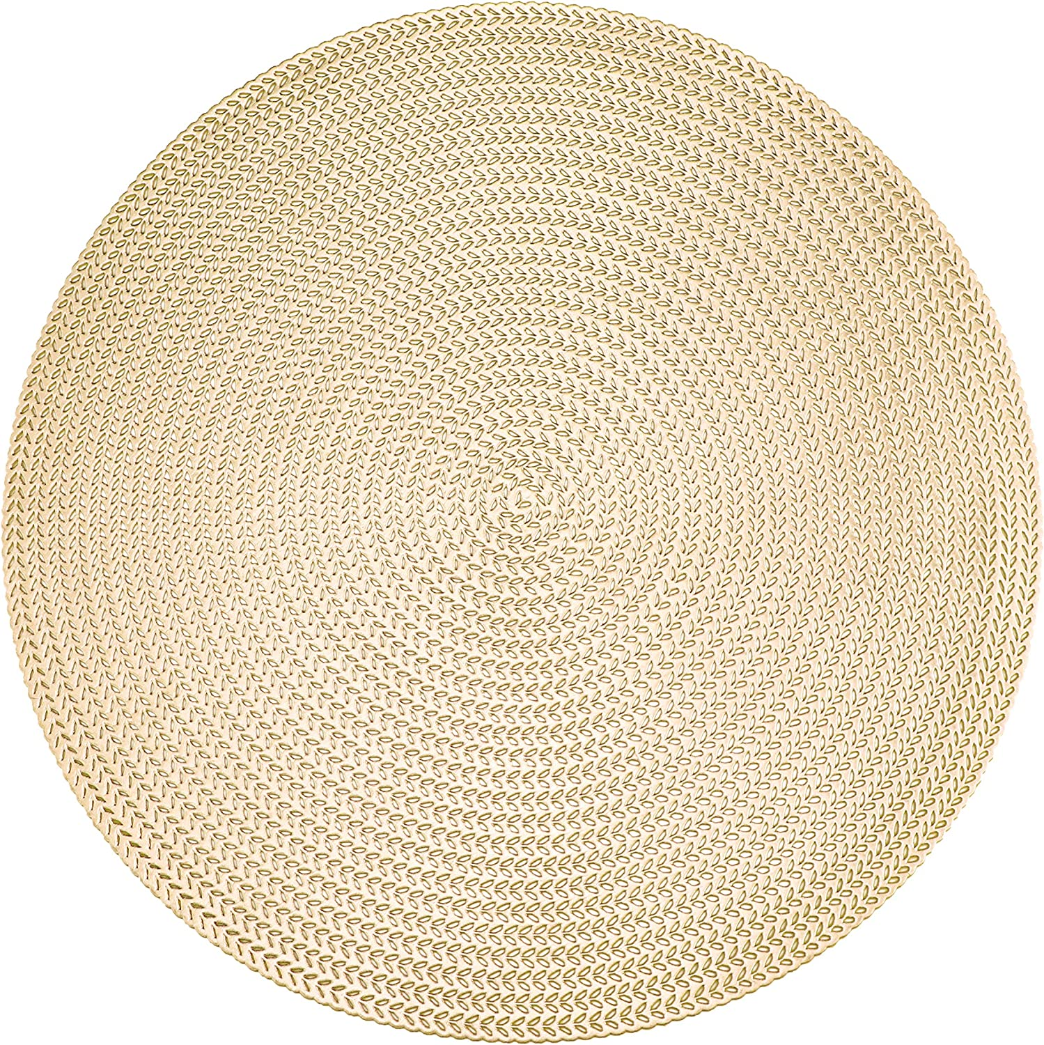 Set of 6, Gold Metallic Vinyl Round Placemats Laminated Plastic Morden Dining Table Decoration, Rye by Snowkingdom