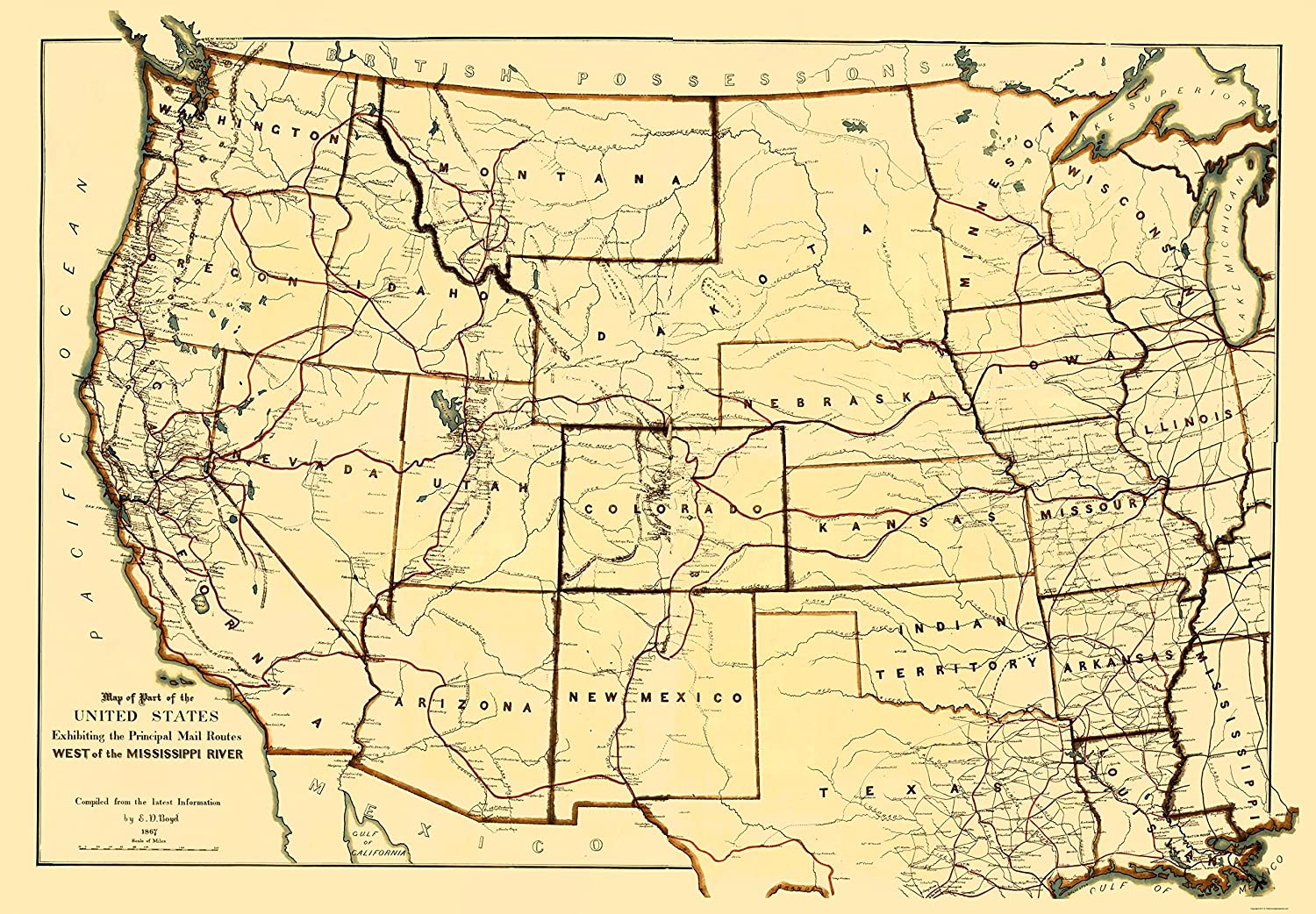 Amazon.com: Old State Map - Mail Routes West of the Mississippi ...
