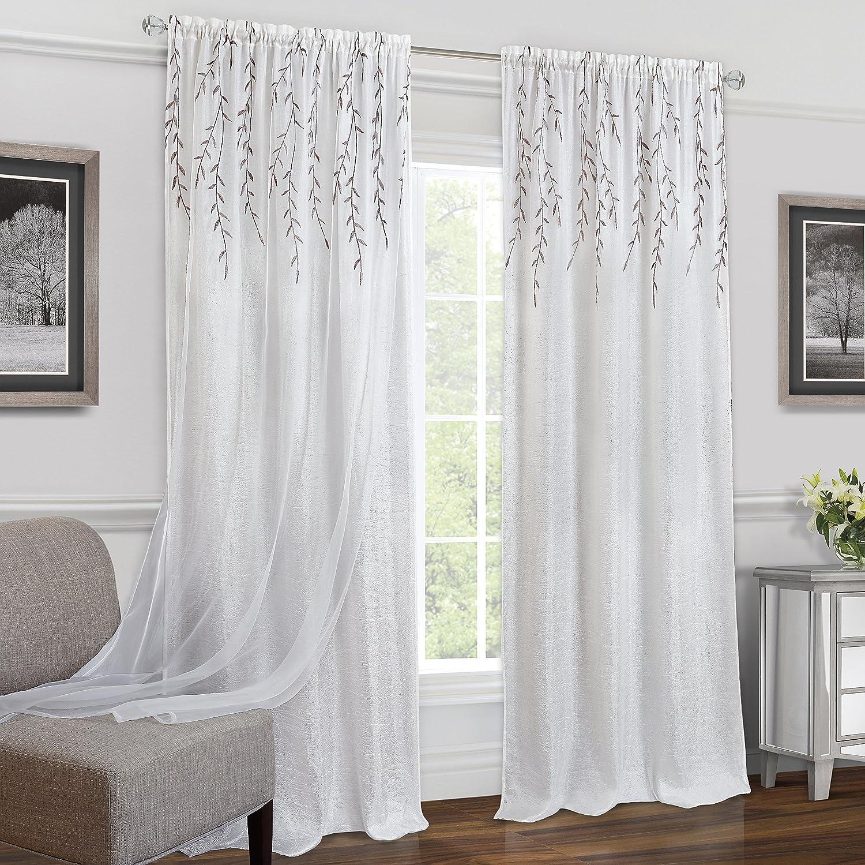 Achim Home Furnishings Willow Rod Pocket Window Curtain 42 x 84 Grey Single Panel