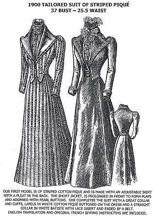 Amazon.com: 1900 Tailored palo de piqué de rayas patrón ...