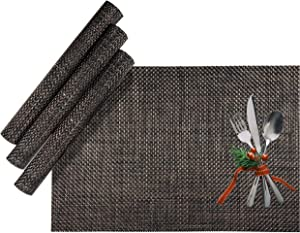 CK Home Modern Essentials, Table Runner Placemats for Dining Table- Set of 4. Durable for Outdoor or Indoor Kitchen. Easy to Clean and Store. Customizable Rectangle Shape. Brown.