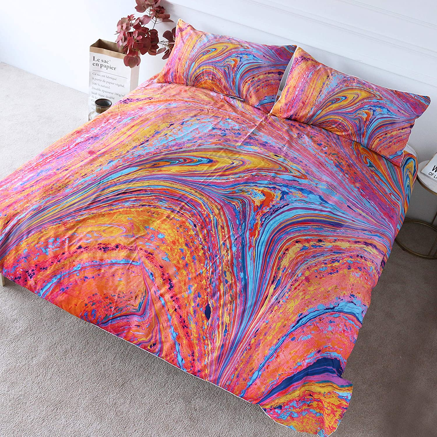 BlessLiving Red Blue Marble Bedding 3 Pieces Flow Fluid Abstract Art Duvet Cover Traditional Orange Marbling Pattern Bed Covers (Twin)