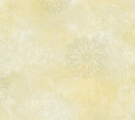 Chesapeake Hav40823 Yellow Henna Medallion Wallpaper Amazon Com