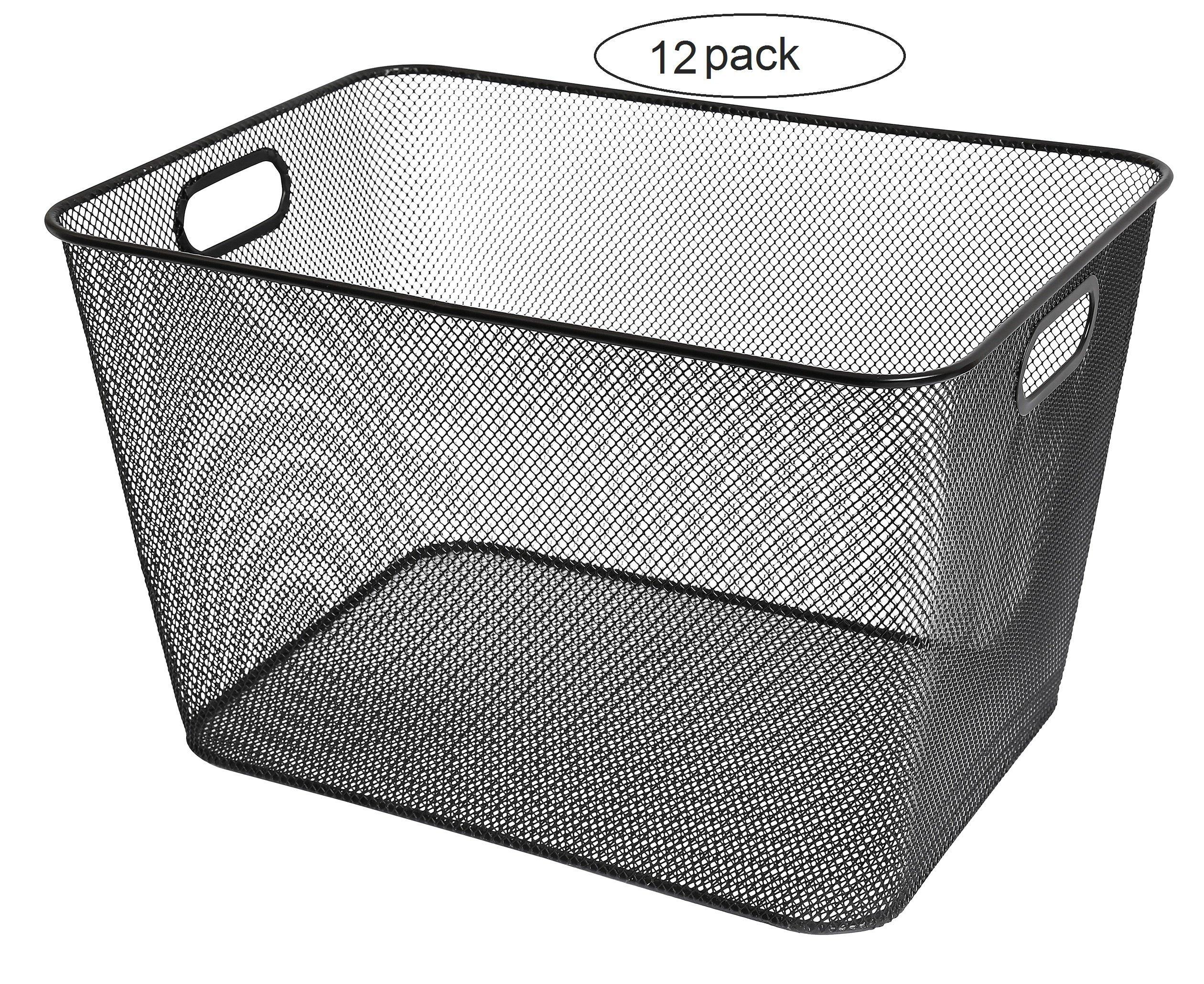 Mesh Open Bin Storage Basket Organizer for Fruits, Vegetables, Pantry Items Toys 2040-12 (12, 14 X 10 X 9)