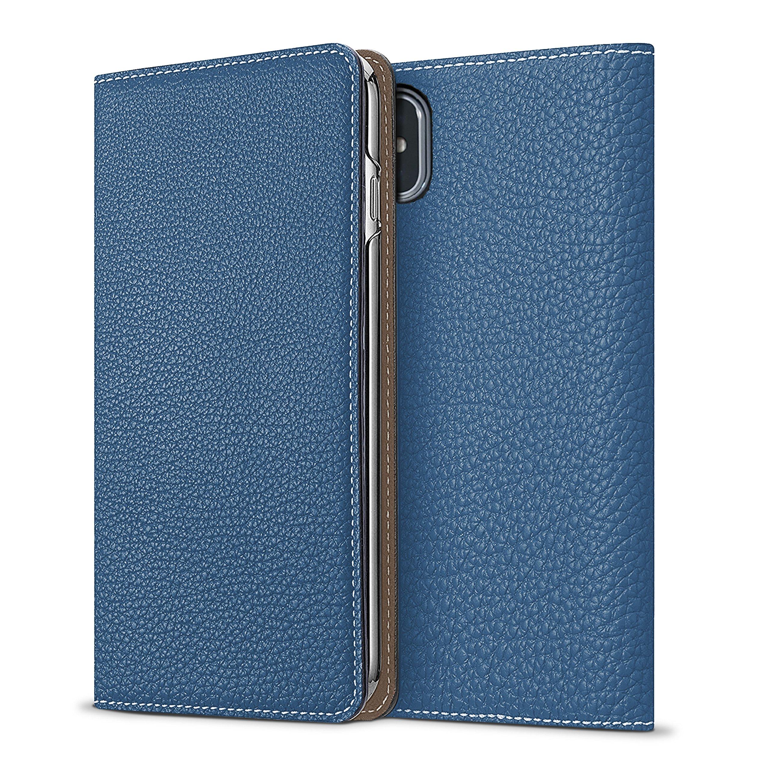 BONAVENTURA iPhone X Leather Wallet Case (Beautiful European Full-Grain Leather) | Luxury Flip Cover Folio Case [iPhone X | Blue & Taupe]