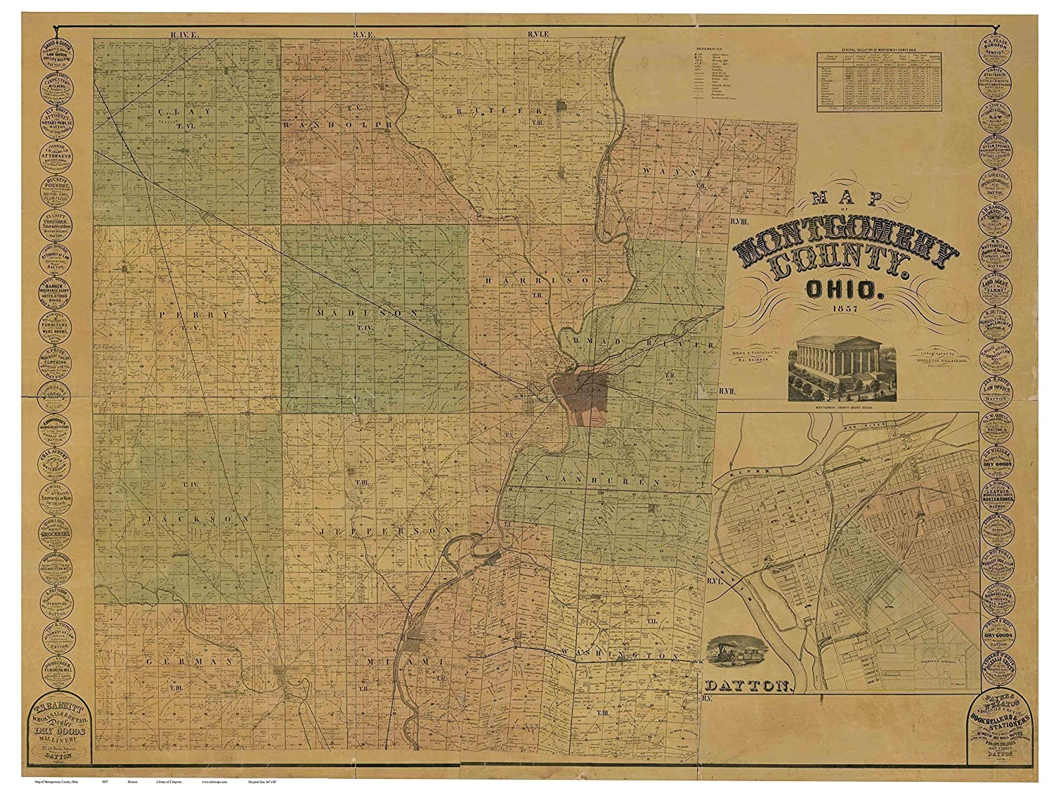 Amazon.com: Montgomery County Ohio 1857 - Wall Map with Homeowner Names -  Farm Lines - Old Map Reprint: Handmade