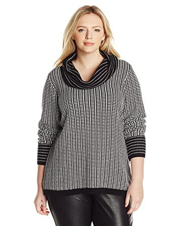 Calvin Klein Womens Plus Size Cowl Neck Sweater With Grid Stripes