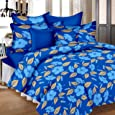 Lali Prints Beautiful Leaves 180 TC Cotton Double Bedsheet with 2 Pillow Covers - Blue